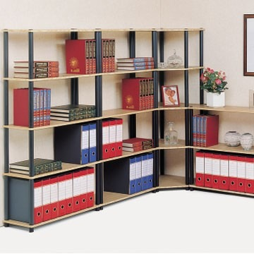 scaffali archiviazione ufficio: legno, metallo, scala